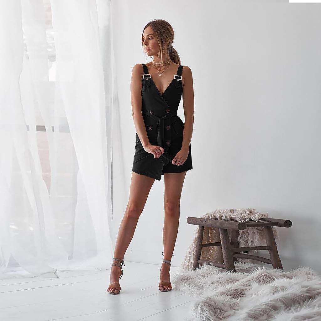 Koolsants Womens Elegant Deep V Wrap Sleeveless Nightclub Mini Dress Party Dresses