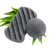 FRESHME 100% Nature Cleanning Charcoal Konjac Sponge - 2 Pack Bamboo Activated Carbon Puff Set Exfoliator Facial & Body Washing Tools for Women Eco-Friendly Material Fit for Dry Oil Sensitive Skin