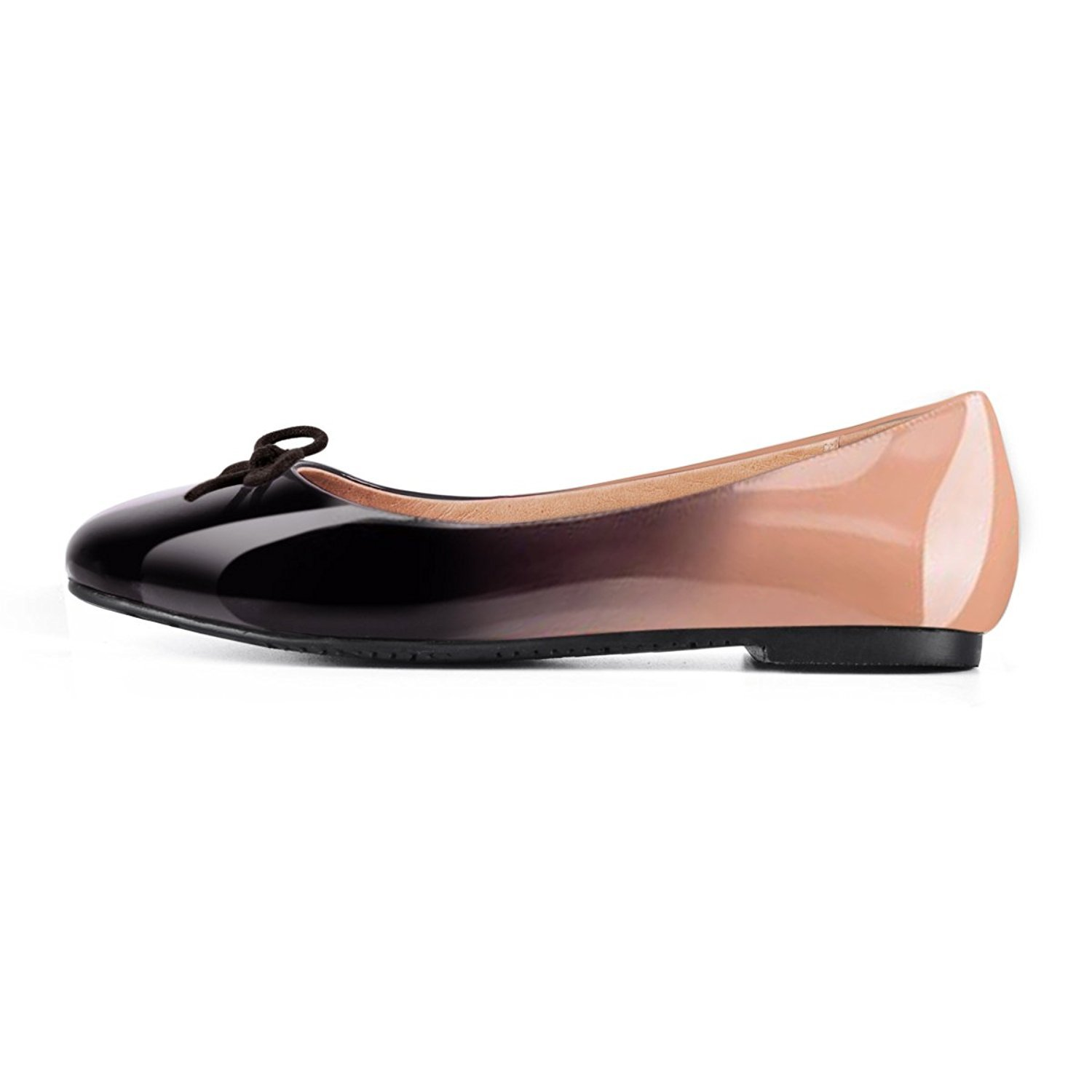 Joogo Women Round Toe Ballet Flats with Bow Tie Slip On Casual Comfortable Shoes B0788HVJ9Q 5 B(M) US|Black to Nude