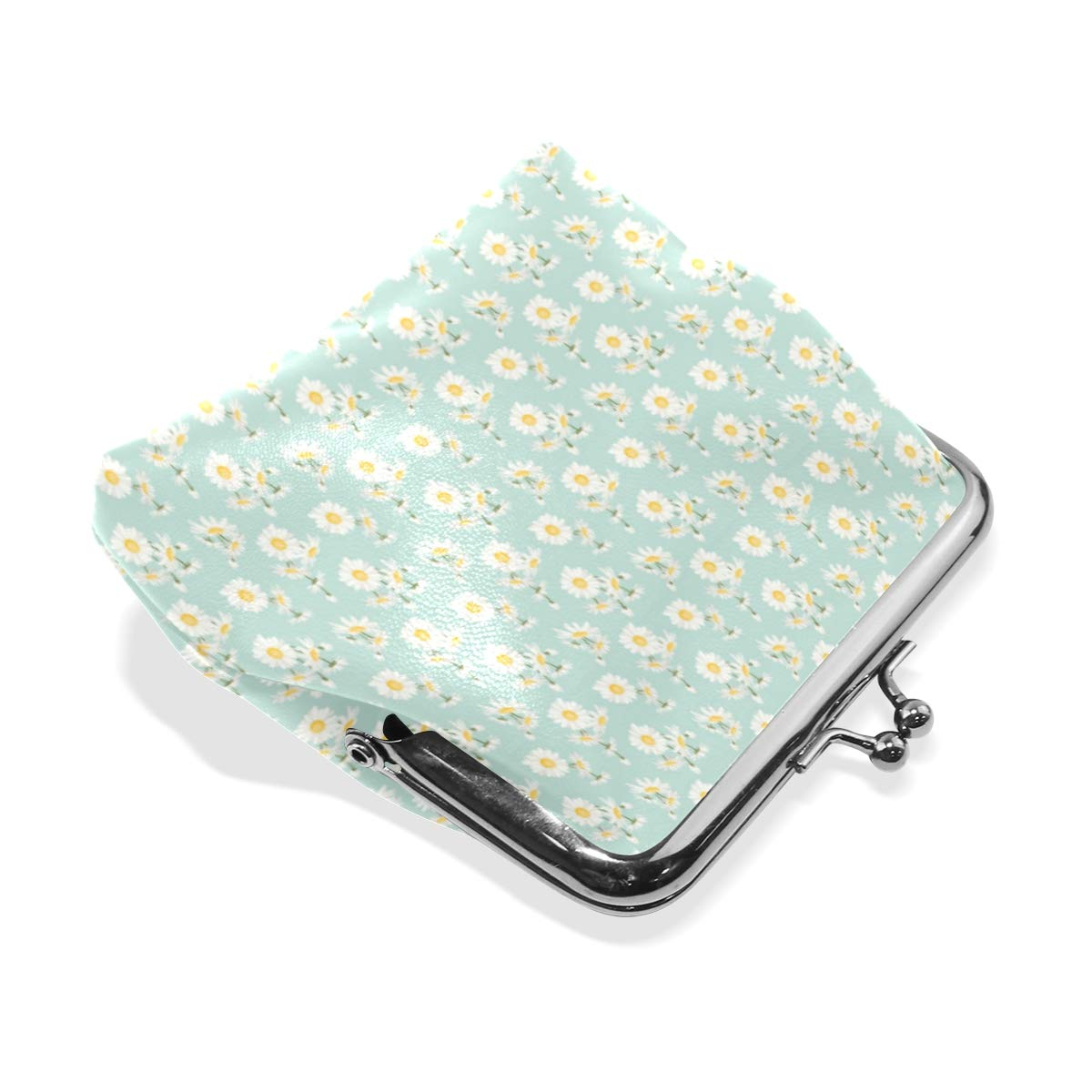 Exquisite Buckle Coin Purses Chamomile Daisy Spring Summer Mini Wallet Key Card Holder Purse for Women