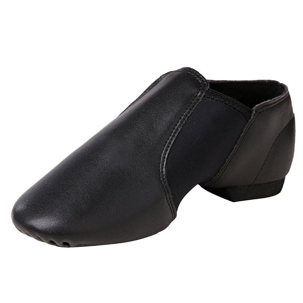 STELLE Slip-on Jazz Shoes for Girls Boys Kids (Little Kid 3M US, Black)