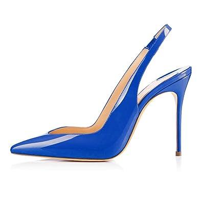88da169b42a1cd EDEFS Damenschuhe High Heels Lackleder Slingback Pumps mit Stiletto Blau Größe  EU35