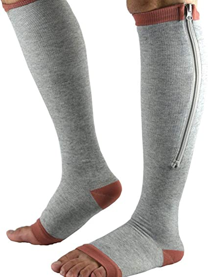 Gray, XXL 2 Pairs Zipper Compression Socks Women Medical Open Toe Plus Size for Nursing Pregnancy Flying