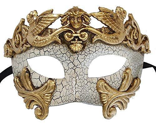 [Hagora, Men's Greek God Vintage Design Gold White Aged Crackled Finish Mask,Gold, Off-White One Size fits] (Male Greek God Costumes)