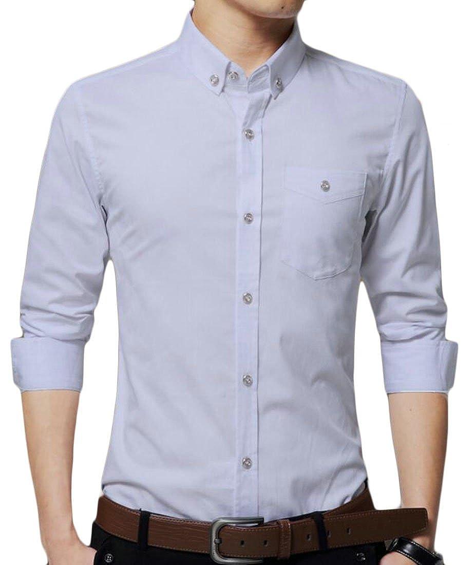 Zantt Mens Solid Cotton Long Sleeve Slim Fit Point Collar Dress Shirts