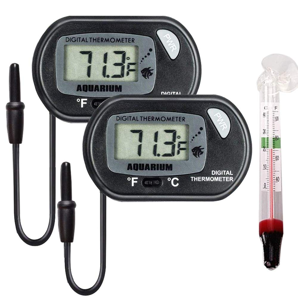 AUTIDEFY LCD Digital Aquarium Thermometer Fish Tank Water Terrarium Temperature, 2 x Black Large LCD Digital Thermometer, 1 x Suction Cup Floating Thermometer