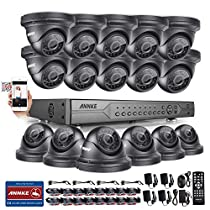ANNKE 32CH 5 IN 1 DVR Security Camera System with 16 x HD 960P/1.3MP IP66 Metal Weatherproof CCTV Dome Camera, 100ft Night Vision, Motion Detection, Remote Playback, No HDD Included