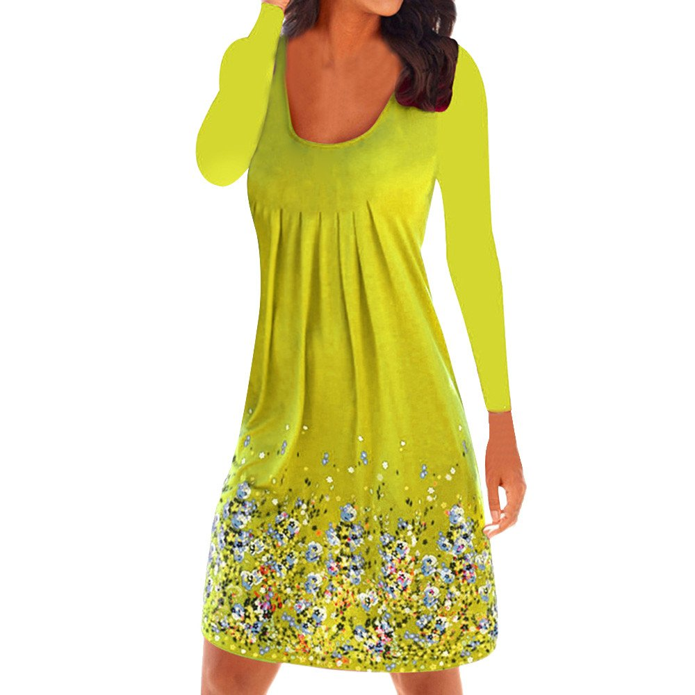 Winsummer Womens Casual Loose Plain Dresses Vintage Floral Printed T-Shirts Dress Plus Size Yellow