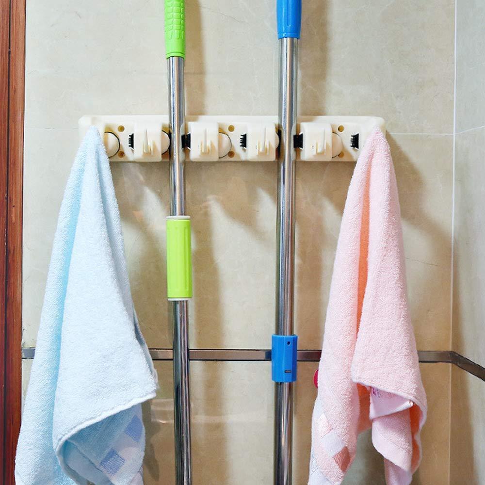 Kitchen Organizer Wall Shelf Mounted Hanger 5 Position Kitchen Storage Mop Brush Broom Organizer Holder Tool