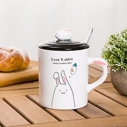 WU-Mug Jarra de cerámica Creativa con Tapa con la Cuchara Mugs Estudiante par Tazas