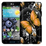 LG Optimus G PRO Case, Slim Fit Snap On Cover by Trek Highlighted Butterfly Orange on Black Case