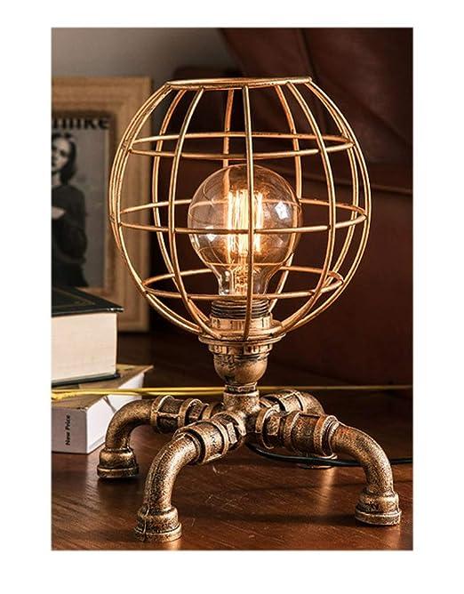 Lámpara de mesa industrial Bronce Vintage Lámpara de ...