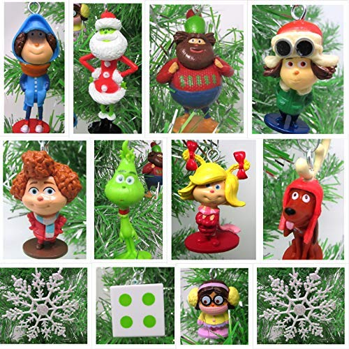 Christmas Ornament Dr. Suess Whoville Dr. Seuss The Grinch Mini Set - Unique Shatterproof Plastic Design ()