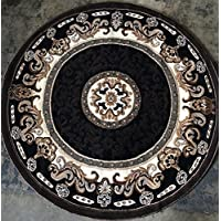 Traditional Persian Round Area Rugs Rug Black & BrownDesign C314 (6 Feet 7 Inch X 6 Feet 7 Inch Round)