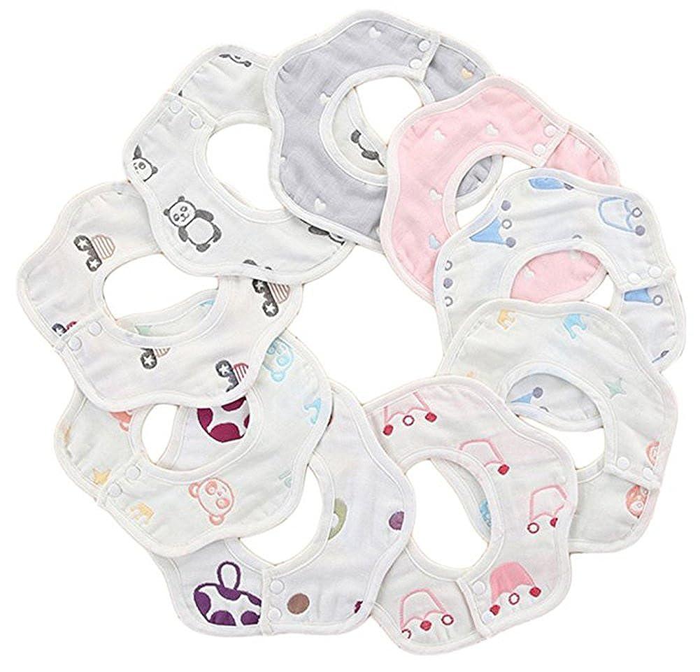 Wheelsp 10 Pack Baby Bandana Drool Bibs Baby 360 Rotate Baby Petal Gauze Bibs-Burp Cloths,Feeding,Waterproof And Absorbent, Drooling And Teething (Multicolor)