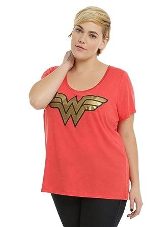 bdf59890 DC Comics Wonder Woman Gold Foil Logo Girls T-Shirt Plus Size - Red -:  Amazon.co.uk: Clothing
