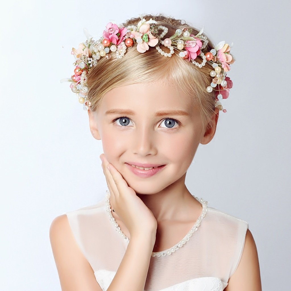 Kind-Blumen-Kranz, Stirnband-Blumen-Girlande-handgemachtes Hochzeits-Braut-Partei-Band-Stirnband Wristband Hairband ( Farbe : Bunte )