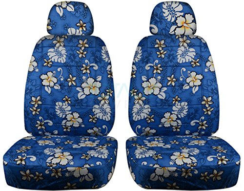 Hawaiian Print Car Seat Covers w 2 Separate Headrest Covers: Blue w Flowers - Semi-Custom Fit - Front - Will Make Fit Any Car/Truck/Van/SUV (6 Prints)