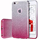 MILPROX Bling Glitter Pretty Sparkle 3 Layer Hybrid Anti-Slick/Protective / Soft Slim TPU Case Compatible iPhone 6s Plus / 6 Plus- Pink Silver