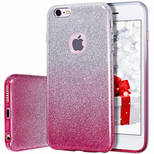 Amazon.com  MILPROX Bling Glitter Pretty Sparkle 3 Layer Hybrid  Anti-Slick Protective   Soft Slim TPU Case Compatible iPhone 6s Plus   6  Plus- Pink Silver  ... 6e719cfc98f5