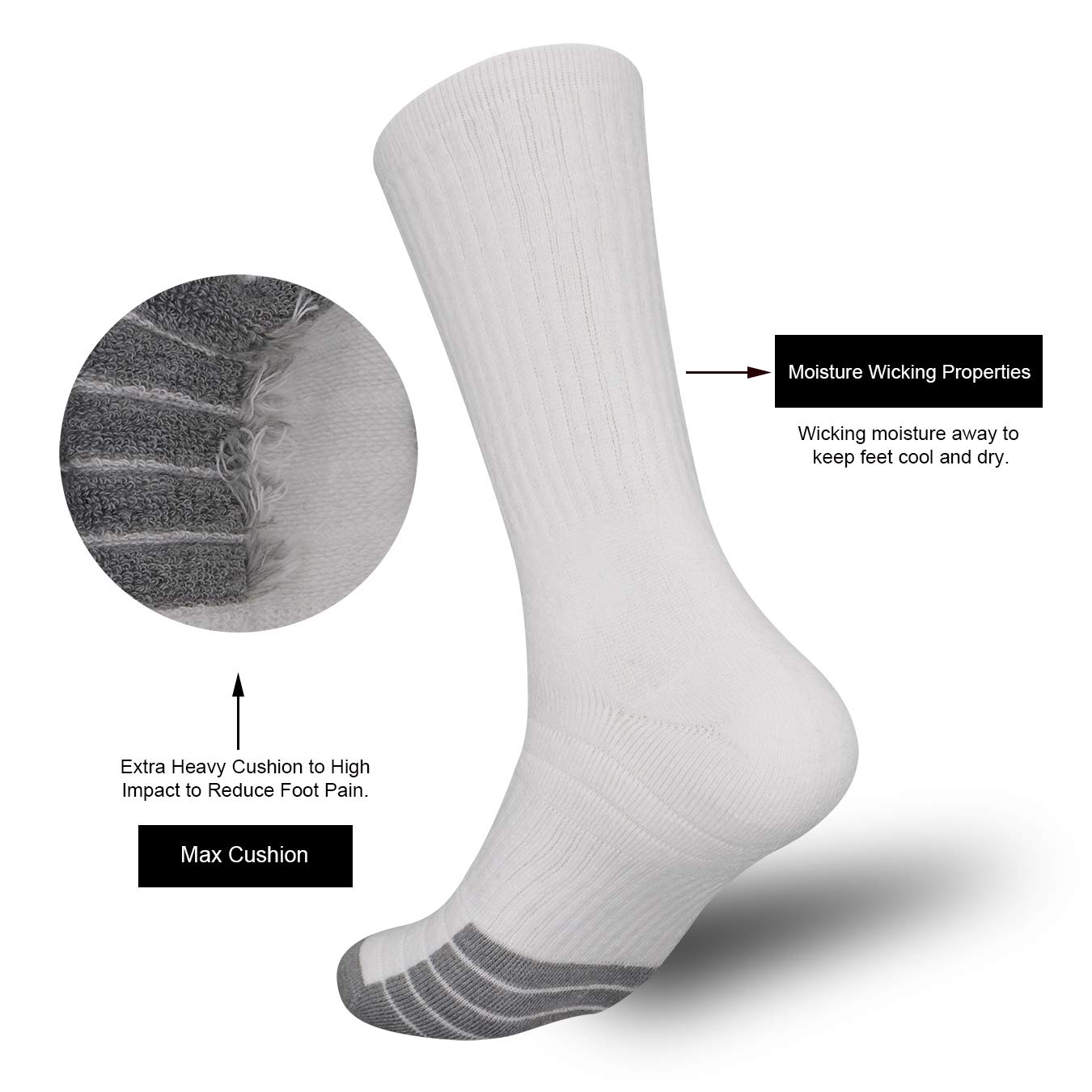 Inboots Mens 10 Pairs Cotton Moisture Wicking Extra Heavy Cushion Athletics Workout Crew Socks