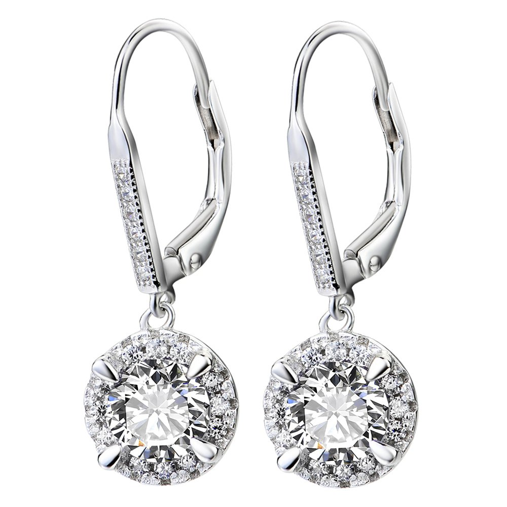 YFN Platinum-Plated Sterling Silver Crystal Halo Leverback Dangle Drop Women Earrings (Round Crystal)