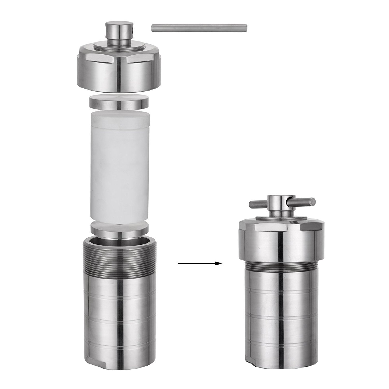 25ml Teflon Lined Hydrothermal Synthesis Autoclave Reactor 304 Steel Hydrothermal PTFT Hydrothermal Reactor Hydrothermal Autoclave Reactor PTFE Lined Vessel