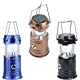 HOLME'S LED 3 Power Source Solar USB Mobile Charger Lithium Battery Emergency Light Lantern for Travel, Camping (Assorted Colours)