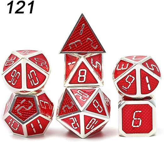 TGWCJDBB Juego de Dados estándar, Chengshuo Dragon Scales Metal Dice Double Color Setzinc DND Alloy Cubes Juego de Mesa 7 Piezas Polyhedral RPG para Mazmorras y Dragones Rojo: Amazon.es: Hogar