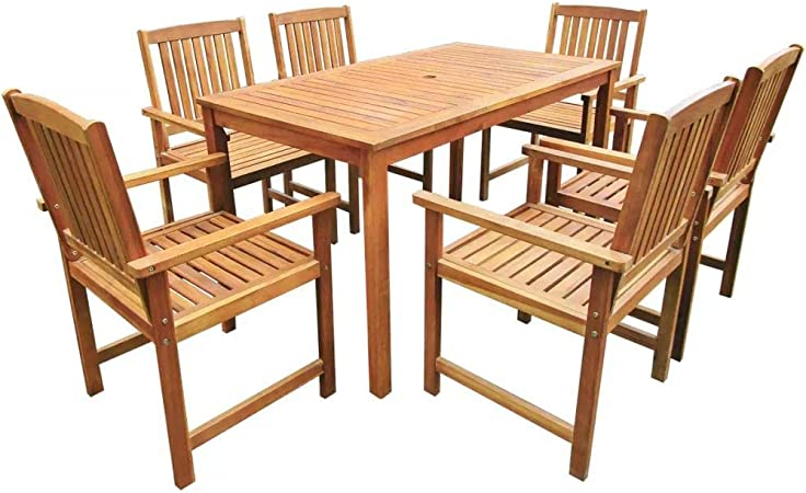 WENYAO Juego de Mesa de Comedor para Exterior de 6 plazas, 7 Piezas, Mesa de Madera y 6 sillas de Comedor - Juego de Muebles de jardín: Amazon.es: Hogar