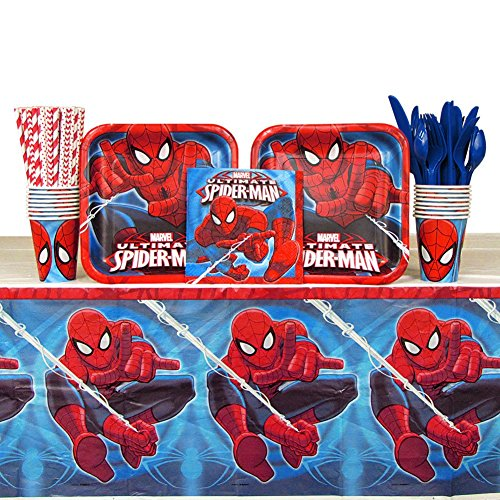 Spiderman Party Pack for 16 Guests: Straws, Plates, Napkins, Cups, Cutlery and Table Cover