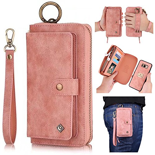 (Galaxy S8 Plus Wallet Case,Galaxy S8 Plus Zipper Wallet Case,AIFENG for Samsung Galaxy S8 Plus Leather Flip Folio Case Cover Detachable Magnetic Wallet Purse Case Leather Pouch with Card Holder,Pink)