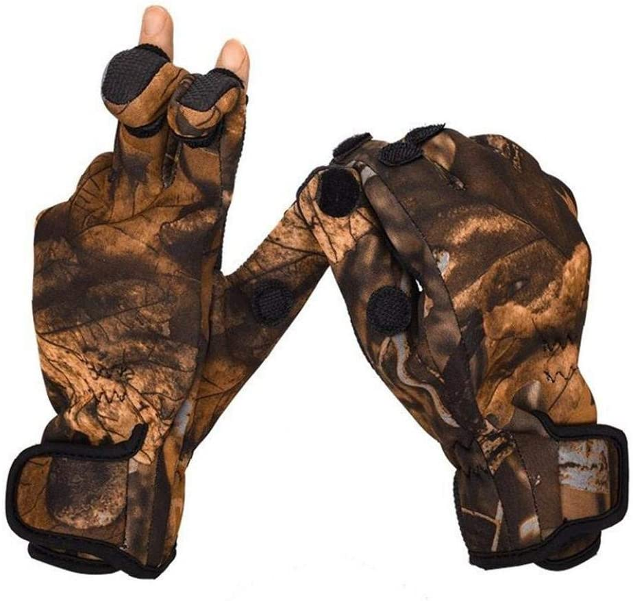 2Pcs Camouflage Winter Outdoor Handschuhe 3 Cut Finger Sport-Handschuhe Radfahren Angeln Handschuhe wasserdicht Winddicht Anti-Rutsch-F/äustling M