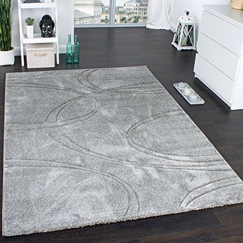 Teppich Einfarbig Designerteppich mit Handgearbeitetem Konturenschnitt Uni Grau, Grösse:80x300 cm