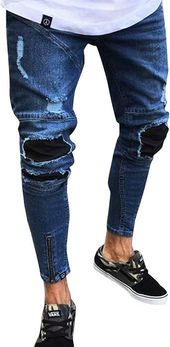 Haidean Pantalones Vaqueros Para Hombre Pantalones Para Hombre Pantalones Modernas Casual Casuales Pantalones Vaqueros Del Disenador Pantalones Vaqueros Ajustados A La Moda Vintage Rasgados Agujeros Amazon Es Ropa Y Accesorios