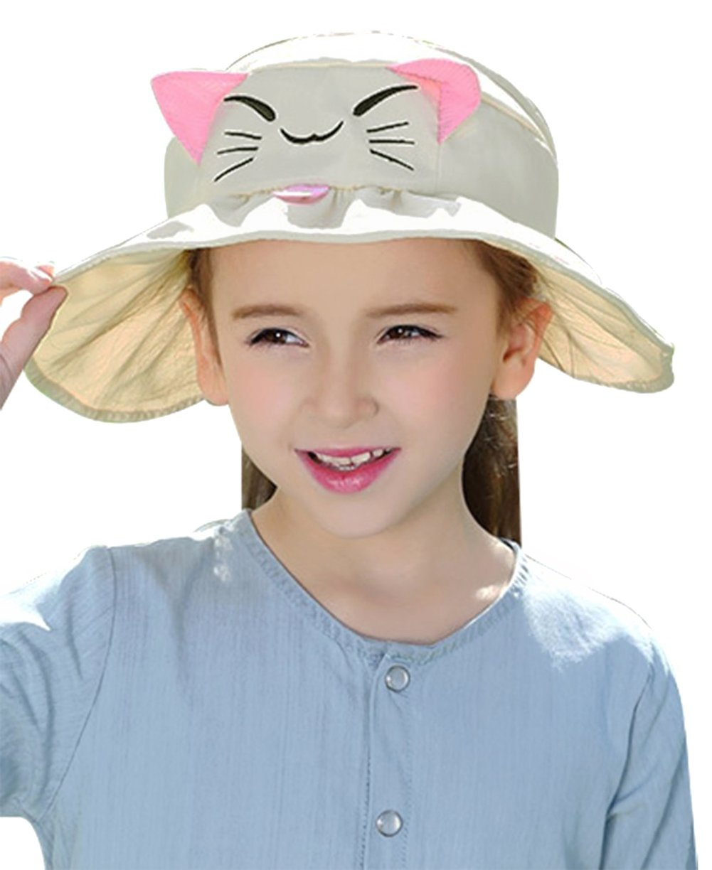 Kids Foldable Large Brim UV Protection Beach Sun Hats for Girls,Beige
