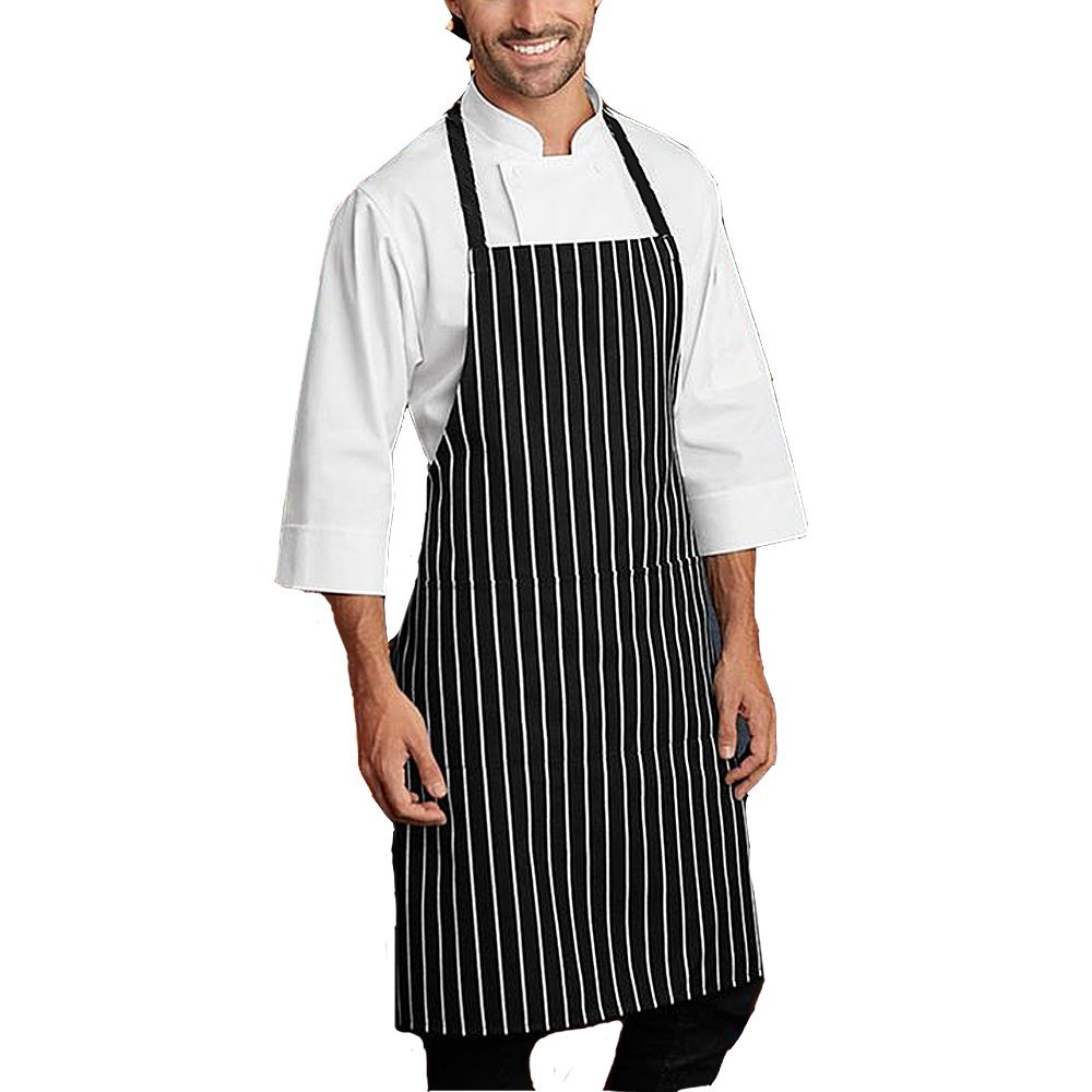 Heselian Professional Black Bib kitchen Apron, Cooking Apron, Chef Aprons, Apron for Women, Apron For Men, Durable, Machine Washable, Comfortable VEJS1023