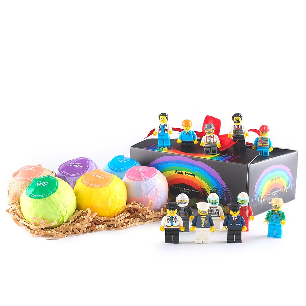 Bath Bombs For Kids With Surprise Toys Inside(My Mini World Male Minifigures),USA-6 Organic Large Ball Gift Set For Girls/Boys,Easter Eggs,Ultra Lush SPA Fizzy/Bubble Bath-Mom Best Gift for Kids