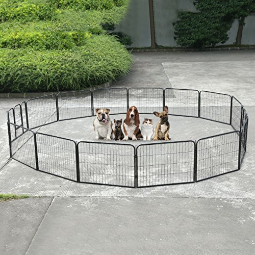 GOGOUP Dog Pets Metal Fence, 16 Panel, Portable Outdoor RV Play Yard | Metal Outside Pet Large Playpen | Indoor Puppy Kennel Cage Crate Enclosures | 24