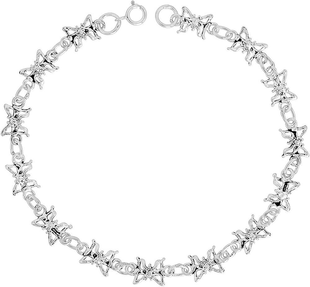 11mm x 11 mm butterfly charm bracelets for women antique  silver