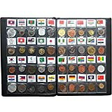 Coin Collection Starter Kit 60 Countries Genuine World Coin with Collecting Album Xmas Kids Gift Flags Set Included
