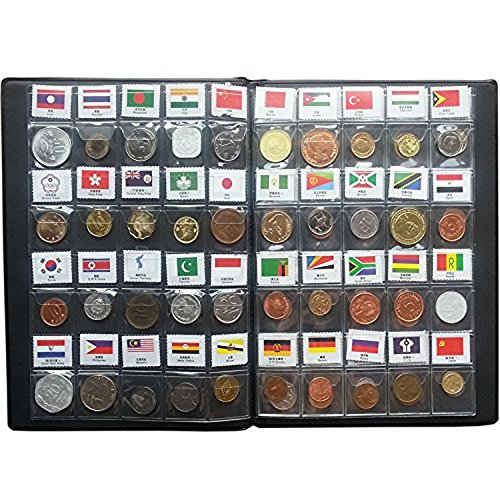 Collection Rare Coin (Coin Collection Starter Kit 60 Countries Genuine World Coin with Collecting Album Xmas Kids Gift Flags Set Included)