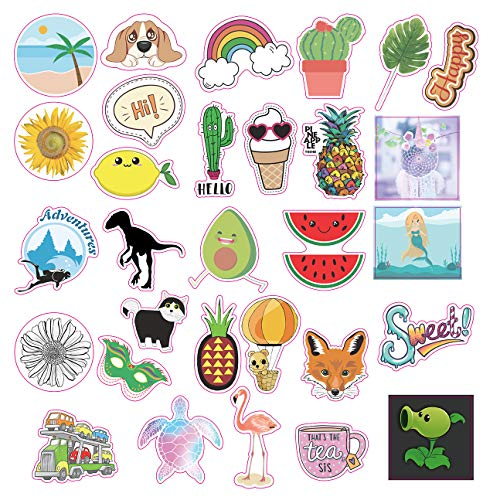 Sunnyq Summer Beach Cute Water Bottle Stickers | 100% Vinyl Decal Trendy Stickers | Waterproof,Aesthetic,Funny, Laptop Stickers-Large 30 pcs