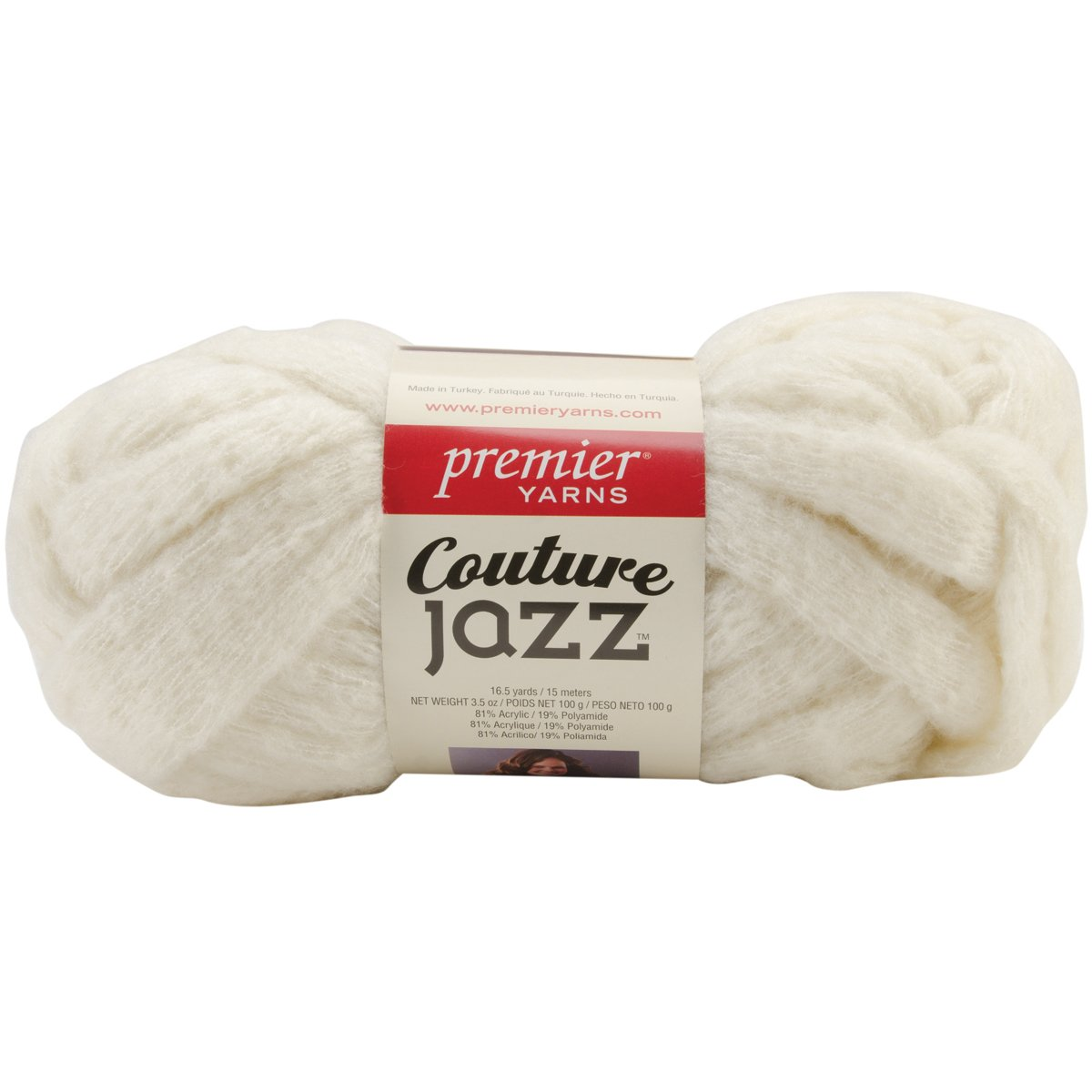 Premier Yarn Couture Jazz Yarn, Milk, 3 Pack Notions - In Network 60860