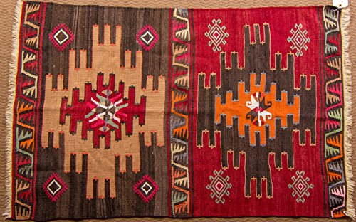 Vintage Kilim Rug - Turkish oriental area and runner rugs, handmade, hand woven (3 x 4.6) (Boots Kilim)