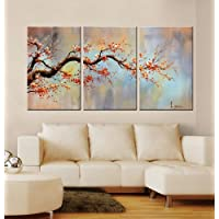 ARTLAND Modern Hand Painted Flower Oil Painting on Canvas Orange Plum Blossom 3-Piece Gallery-Wrapped Framed Wall Art Ready to Hang for Living Room for Wall Decor Home Decoration