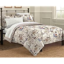 Free Spirit Cape Cod Seaside Sailing Nautical Comforter Set, Multi-Colored, Twin