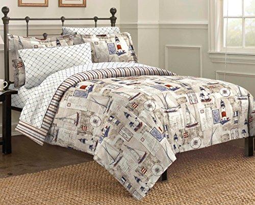Free Spirit Cape Cod Seaside Sailing Nautical Comforter Set, Multi-Colored, Twin (Nautical Comforter Sets)