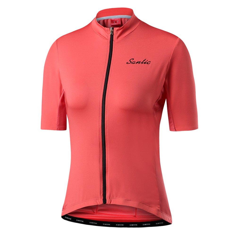 Santic Women's Cycling Jersey Short Sleeve Casual Full-Zip Jersey by Santic