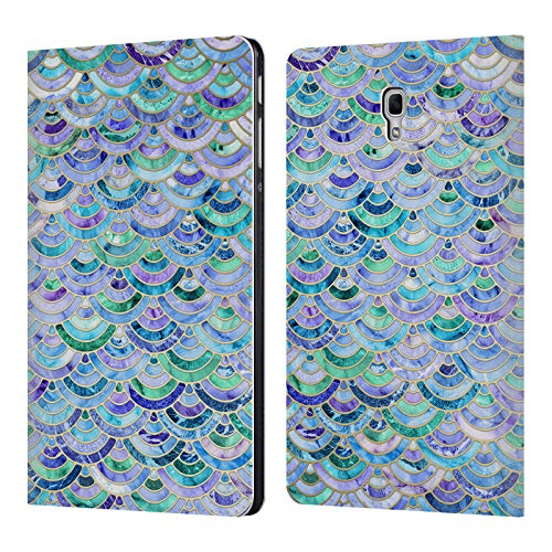 (Official Micklyn Le Feuvre Mosaic in Sapphire and Emerald Marble Patterns Leather Book Wallet Case Cover for Samsung Galaxy Tab A 10.5 (2018))